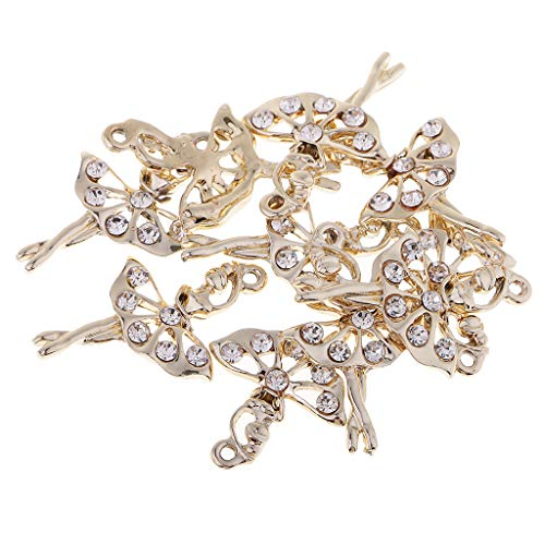 Fityle 10 Pieces Ballet Gold Tone Alloy Pendants Rhinestone Ballerina/Ballet Dancer Charms for DIY Jewelry Making Necklaces Bracelets Earrings ()