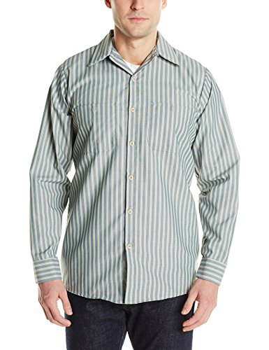 (Red Kap Men's Industrial Stripe Work Shirt, Green/Khaki Stripe, Long X-Large)
