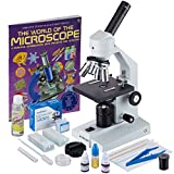 AmScope M500C-SP14-CLS-50P100S-WM 40x-2500x Advanced Home School Compound Microscope with Slide Preparation Kit and Book