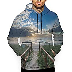 Unisex 3d Novelty Hoodies Beach Entry To The Beach With Leading Handrails Surrounded By Bushes Sunrise Cloudy Weather Multicolor Sweatshirts For Women