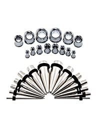 "D&M Jewelry 28pcs 12G-1/2"" Multi-Styles Stainless Steel Tapers Stretcher Set + Screw Back Double Flared Ear Tunnels Kit"