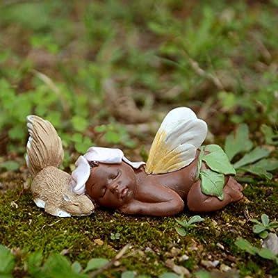 Sleeping Ebony Fairy Baby with Squirrel Top Collection Miniature Garden and Terrarium : Garden & Outdoor