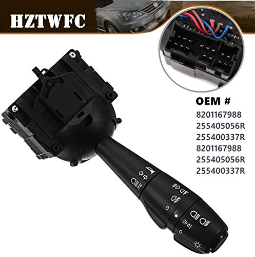 HZTWFC Steering Column Fog Lamp Switch Indicator Light Stalk Unit OEM# 8201167988 255405056R 255400337R 8201167988 255405056R 255400337R: