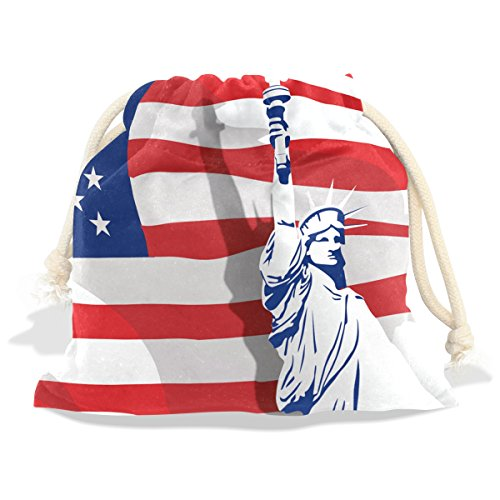 12' Vinyl Magnet Set (Vintage Distressed American Flag Velvet Drawstring Gift Bag Wrap Present Pouches Favor for Jewelry, Coin, Holiday, Birthday, Party, 12.6X17 Inches)