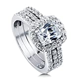 BERRICLE Rhodium Plated Sterling Silver Cubic Zirconia CZ Halo Engagement Insert Ring Set Size 9