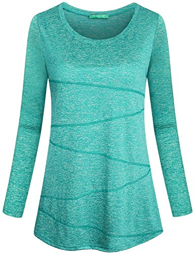 Ladies Wicking T-shirt - Kimmery Moisture Wicking Shirts Women, Female Wicking T-Shirt Long Sleeve Crewneck Roomy Tunic Lightweight Soft Breathable Lady Tees Cool Comfy Light Green XX Large
