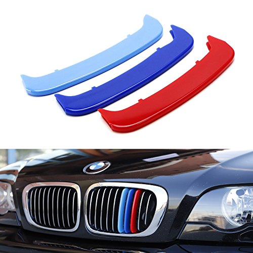 iJDMTOY Exact Fit///M-Colored Grille Insert Trims For 2002-05 BMW E46 LCI 3 Series 4-Door Sedan 323i 325i 328i 330i, 2000-03 BMW E46 Pre-LCI 3 Series 2-Door Coupe 325ci 330ci and 2000-06 M3