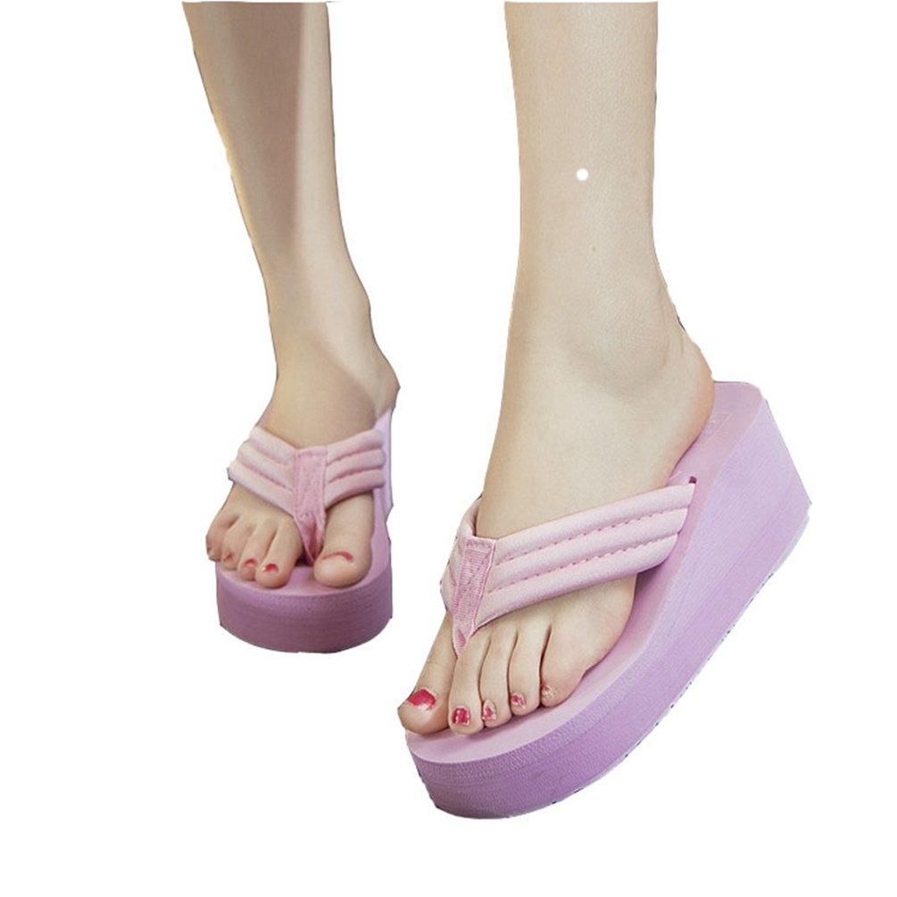 Womens Girls Ladies Plateau Flip Flops Wedge Strand Sandalen Slip auf Bntiskid Strand Wedge Pantoffeln  35 EU|Hell-pink bb9f25