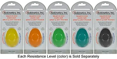 Isokinetics Inc. Hand Exercise Squeeze Ball - Egg Shaped - 5 Resistance Levels - Sold Separately by Isokinetics Inc.