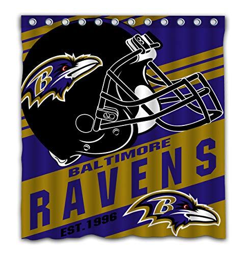 - Potteroy Baltimore Ravens Team Stripe Design Shower Curtain Waterproof Polyester Fabric 66x72 Inches