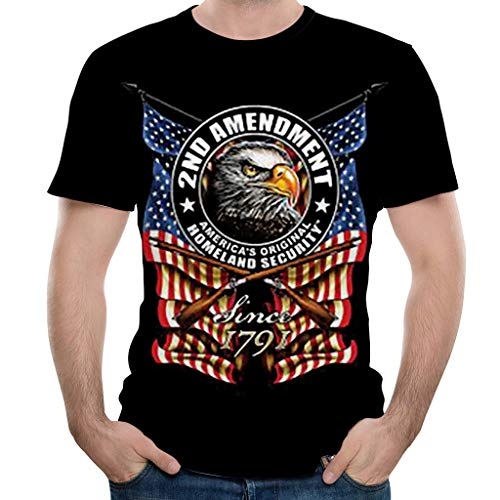 (Men's American Flag Eagle 3D Pattern Printed Short Sleeve Shirts Top Tees 4th of July ndependence Day)
