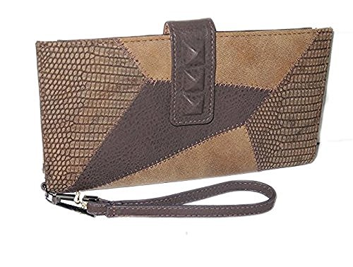 Jessica Leather Wallet (Jessica Simpson Brown Truffle Leather Large Wristlet)