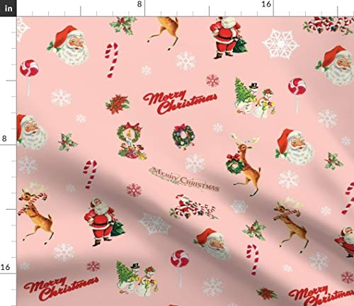 Spoonflower Merry Christmas Fabric - Vintage Santa Claus Reindeer Snowman Kitsch Snowmen Candy Canes Wrapping Cloth Print on Fabric by The Yard - Chiffon for Sewing Fashion Apparel Dresses Home Decor