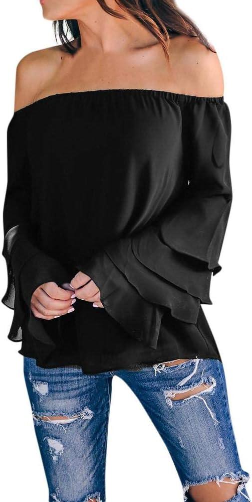 VJGOAL Moda Casual de Mujer Color sólido Sexy Fuera del Hombro Collar de una Palabra Manga de Mariposa Tops de Manga Larga Camisa Blusa(Small, Negro): Amazon.es: Ropa y accesorios