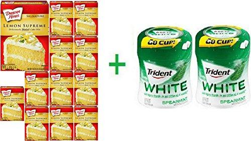 Duncan Hines Signature Moist Deluxe Lemon Supreme Premium Cake Mix 15.25 oz (12 Pack) + 2 Trident Go Cup Spearmint 1/60 Count