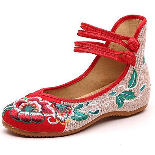 Cheongsam Chinois Casual Mary Broderie Partie Chaussures Jane Lazutom Femmes Rouge Style Danse 6xxFa8