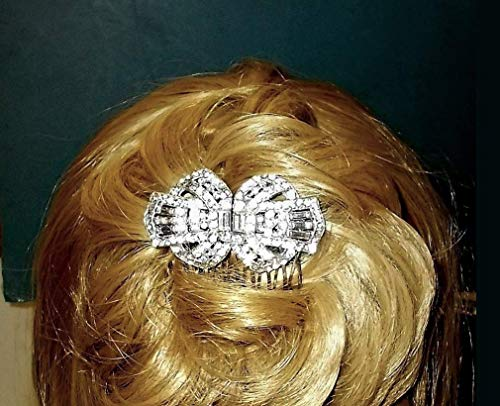 1920 RHINESTONE COMB About 100 Years Old Small Glittering Rhinestone Dress Clip Made Into 2 1/2 Inch Hair Comb Flapper Bridal Comb