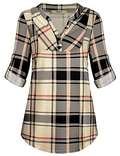 Miusey Plaid Shirt for Women, Misses Career Office Long Sleeve Loose Henley Blouse Grid Print Pleated Maternity Chic Formal Regular Fit Stylish Clothing Beige XL by Miusey