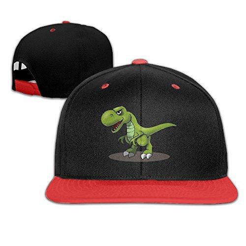 Kids T-Rex Cartoon Dinosaurs Falt Hat Snapback Baseball Cap Red