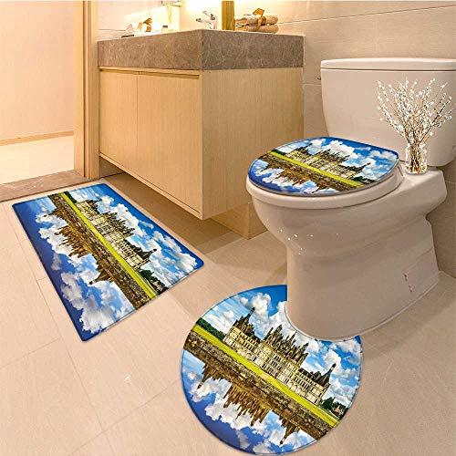 MikiDa 3 Piece Bathroom Contour Rugs Chateau de Chambord Anti-slip Water - Rug Chambord Asian