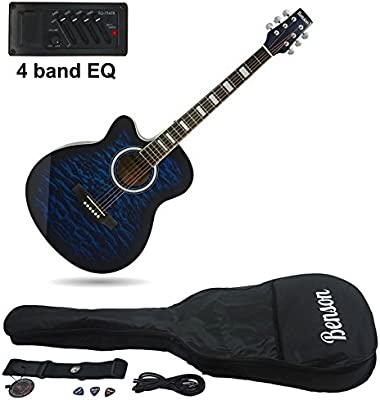 Benson zurdos Guitarra Eléctrica Electro Semi acústica Bundle (Blueburst)