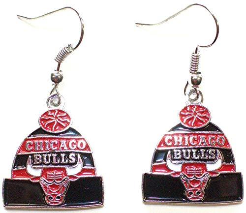 NBA Officially Licensed Chicago Bulls Beanie Style Dangle Earrings (Chicago Bulls Earrings For Men)