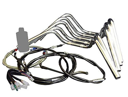 HK アップハン しぼりハンドルセット ブラックワイヤー+メッシュブレーキホース+グリップ付 35cm高 [メッキ:SUZUKIスズキ GSX400 IMPULSE インパルス (99-03年 GK79A)用] B01LP6NRO8 BKワイヤー/MEブレーキ 35cmメッキ:アップしぼり