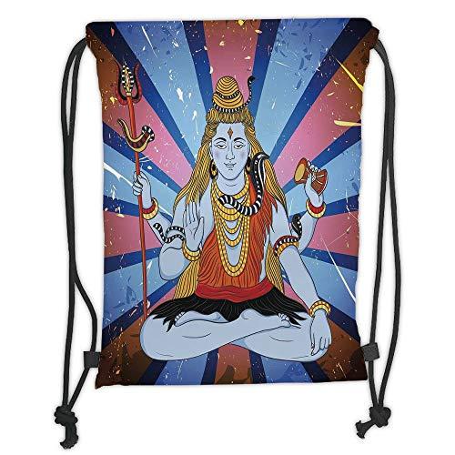 New Fashion Gym Drawstring Backpacks Bags,Ethnic,Asian Figure Grunge Background Deity Meditation Belief Asian Zen Graphic Print,Blue Dark Coral Soft Satin,Adjustable String Closur ()