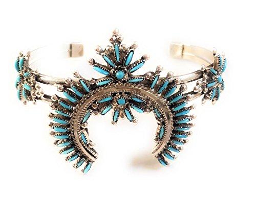 Cuff Signed Bracelet (Nizhoni Traders LLC Zuni Petit Point Sterling Silver Turquoise Cuff Bracelet Signed)