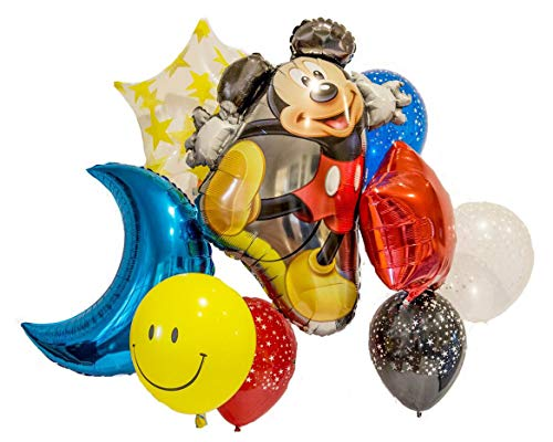 Disney Mickey Balloon Bouquet! 9pc Balloon Pack Mickey Decorations - Large 31
