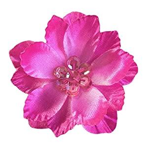 Cuteque International 6-Piece Satin Gladiola Flower with Matching Color Sequin Clusters Sewn in Center 34