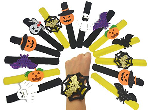 Slap The Bag Halloween Costume (Lanyani 14pack Assorted Slap Bracelets Wristbands Kids Halloween Party Favors Goody Bag Fillers Gifts)