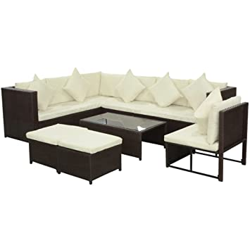 Lingjiushopping Conjunto de sofa de jardin de ratan ...
