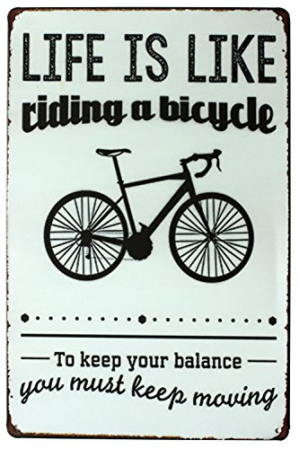 SUMIK Life is Like Riding A Bicycle You Much Keep Moving, Metal Tin Sign, Vintage Art Poster Plaque Garage Home Wall Decor (Vintage Bicycle Poster)