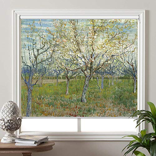 PASSENGER PIGEON Blackout Window Shades, Orchard with Blossoming Apricot Trees, by Vincent Van Goah, Premium UV Protection Custom Roller Blinds, 46″ W x 48″ L