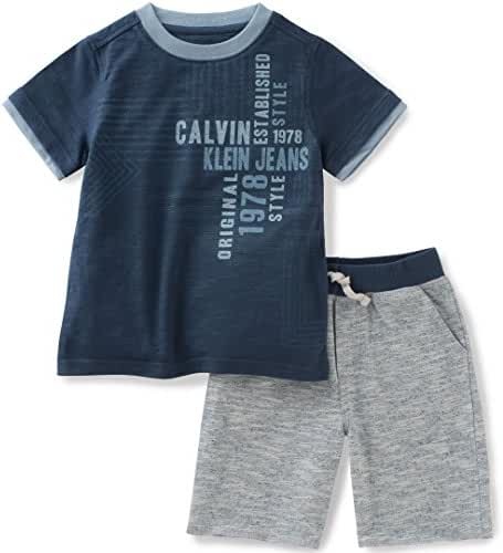 Calvin Klein Baby Boys' 2 Pieces Tee Set-Marled Shorts, Blue, 24M