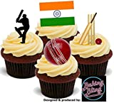 baking cricket - 12 x Cricket India Flag Test Match Championship Mix - Fun Novelty Birthday PREMIUM STAND UP Edible Wafer Card Cake Toppers Decorations