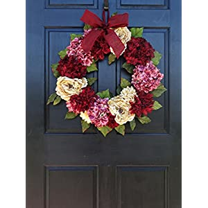 Large Spring Valentines Day Wreath for Front Door Decor; Faux Hydrangea, Dahlia and Peony Mix; Burgundy Red, Cream (Off-White) and Rose Pink; 24 Inch 4