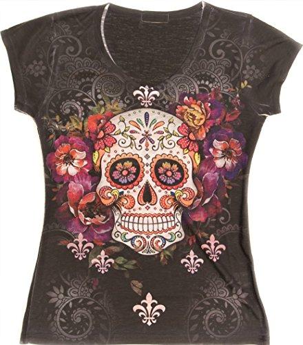 Sweet Gisele Sugar Skull V-Neck T Shirt Day of The Dead Rhinestones Bling for Women Black,Large,Black -