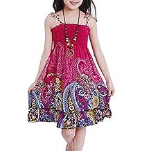 SODIAL(R) New summer girls dresses Fashion Knee-length beach dresses for girls sleeveless bohemian children dresses girls 130cm-Red