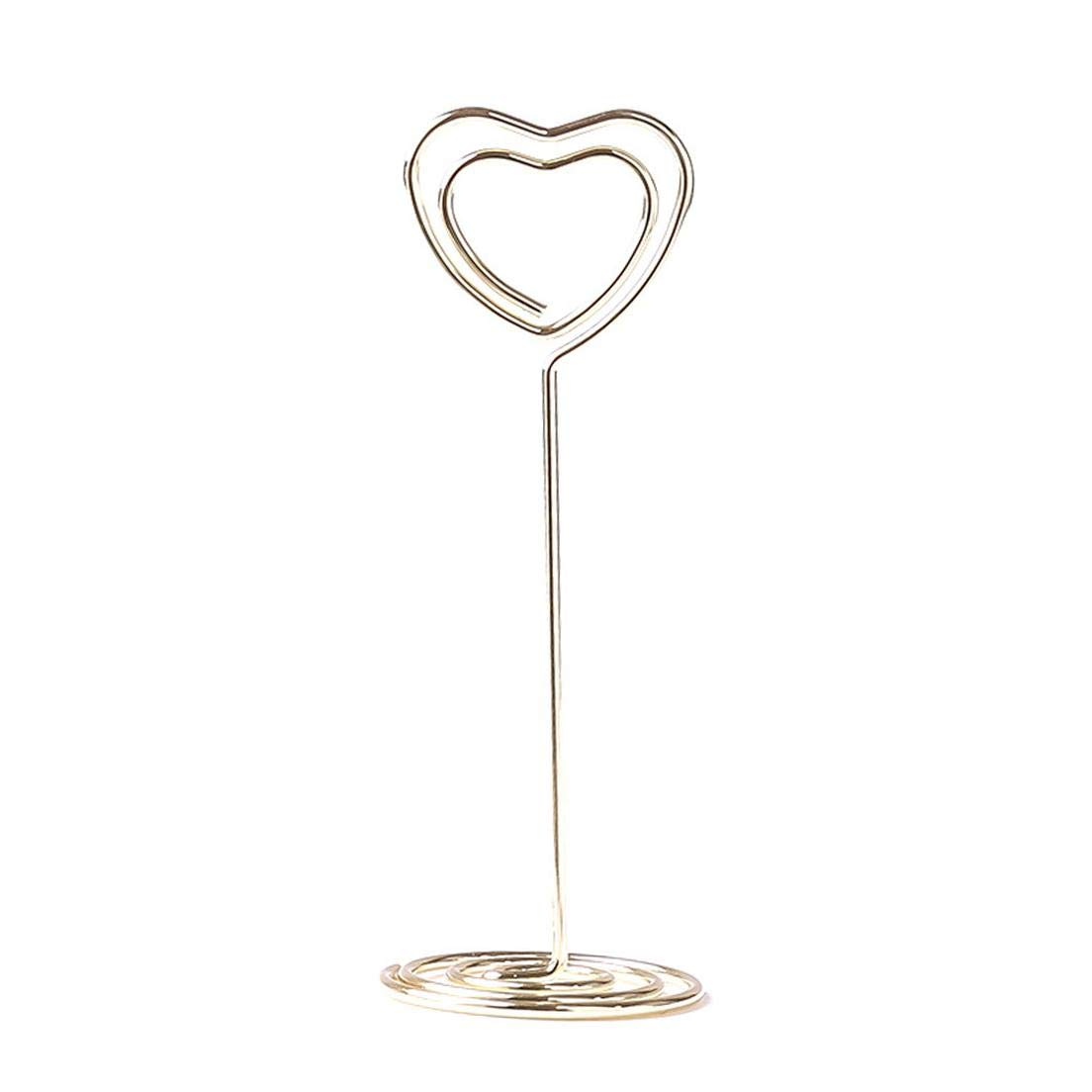 None golden htrdjhrjy Upgraded Version Gold Heart Shape Photo Holder Stands Table Number Holders Place Card Paper Menu Clips Weddings 12 Pack for Home Decoration