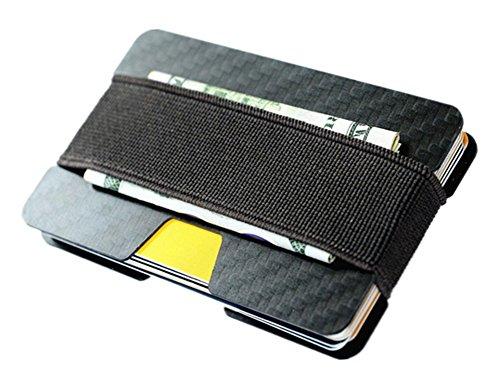 Carbon Fiber RFID Blocking Money Clip Credit Business Card Holder Slim Wallets for Men (Black)
