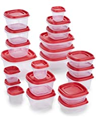 Rubbermaid 2065352 Easy Find Lids Food Storage Containers, 42 Piece, New Assortment, Racer Red
