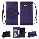 Huawei Mate 10 Case, PU Leather TPU Wallet Flip Cases, Magnetic Stand Card Slots Embossed Mandala (Huawei Mate 10, Purple)