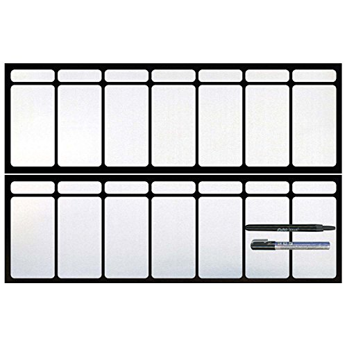 Cohas Magnetic Backed Large 7 Day Calendar includes Black Markers, Whiteboard, 2 (Landscape 2 Door Cabinet)