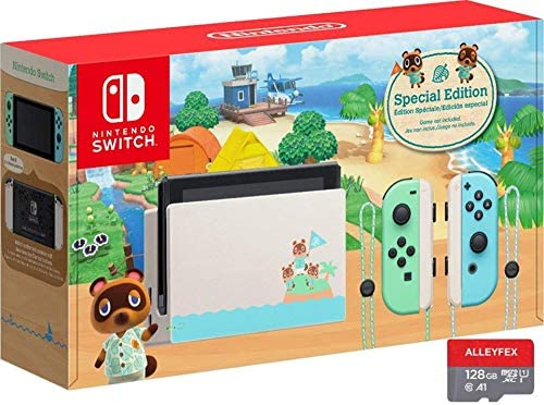 "Newest Nintendo Switch with Green and Blue Joy-Con - Animal Crossing: New Horizons Edition - 6.2"" Touchscreen LCD Display, 802.11AC WiFi, Bluetooth 4.1 - Green and Blue - AllyFlex 128GB Micro SD Card"