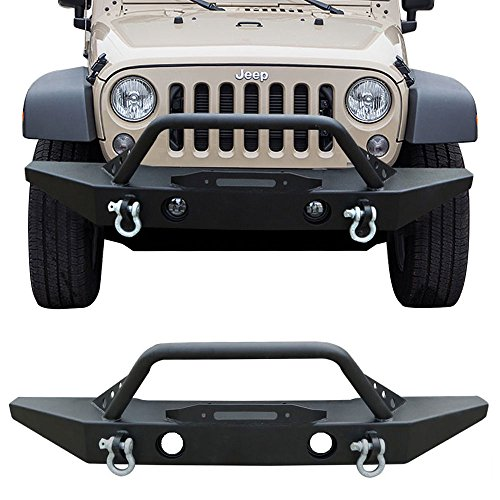 Bull Bar Fits 2007-2017 Jeep Wrangler JK | Black Front Bumper Guard Brush Push Grille Guard by IKON MOTORSPORTS | 2006 2007 2008 2009 2010 2011 2012 22013 2014 2015 2016