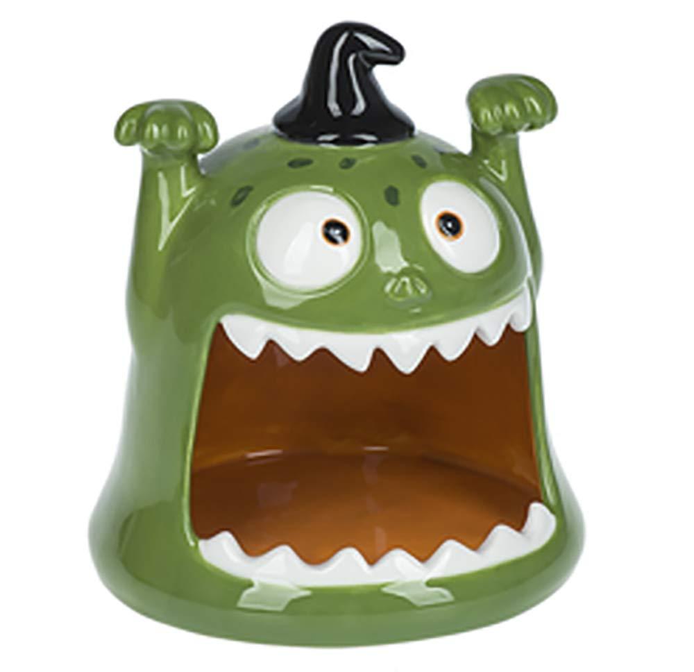 ShopGanz Green Monster Open Mouth 6 x 5.5 Inch Ceramic Halloween Candy Bowl
