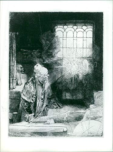 Harmensz Van - Vintage photo of Works By Rembrandt Harmensz van Rijn: Faust in His Study.