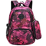 Uniuooi Camouflage Secondary School Backpack Book Bag with Pencil Case for Teenage Girls Boys, Waterproof Multiple Pockets Travel Rucksack (Rose)
